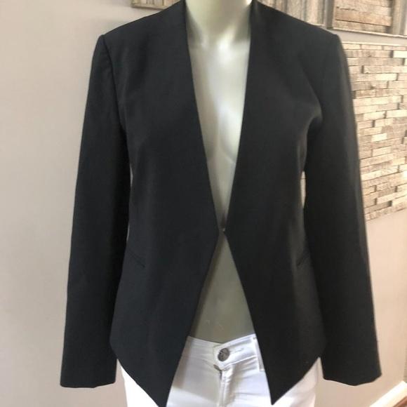 704646ab6d Theory Jackets & Coats | Black Lanai Open Jacket Stretch Wool Size 4 ...